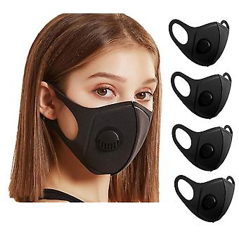4x Sponduct Face Mask Washable Reusable Black Fabric Mouth Guard