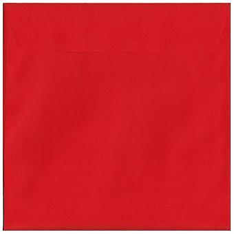 Søjle boks røde skræl/segl 220mm kvadrat farvet røde konvolutter. 120gsm luksus FSC-certificeret papir. 220 mm x 220 mm. tegnebog stil kuvert.