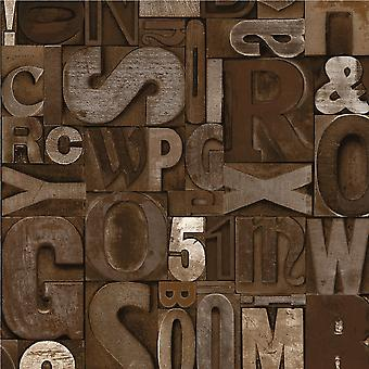 Muriva Slate Letters Typography Brown Wallpaper