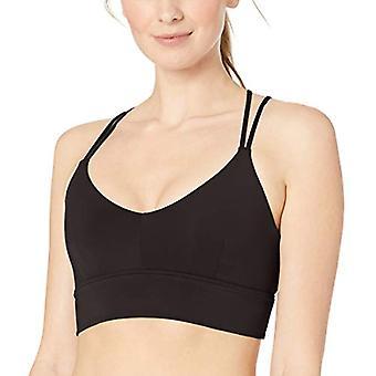 Brand - Core 10 Women's Strappy Longline Plunge Yoga Bralette Sports Bra , Black, Small