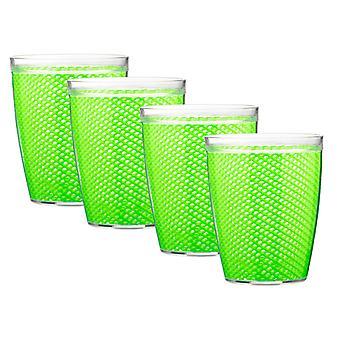 Fishnet 14 Oz Lime Green Doublewall Drinkware Set/4