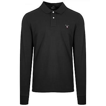 GANT Zwart Klassiek Poloshirt met lange mouwen