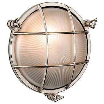 Firstlight Nautic - 1 Licht Outdoor Schott Wand, Flush Light Nickel, Frosted Glass IP64, E27