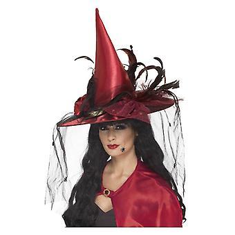 Γυναικεία κόκκινο καπέλο μάγισσα με καθαρό & φτερά Απόκριες φανταχτερό φόρεμα