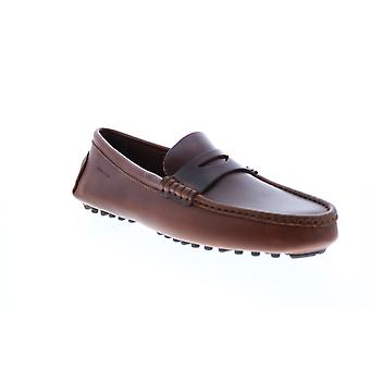 Sebago Russel Mens Brown Leather Loafers & Slip Ons Moccasin Shoes