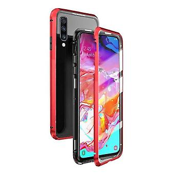 Stuff Certified® Samsung Galaxy A20 Magnetic 360 ° Case with Tempered Glass - Full Body Cover Case + Screen Protector Red