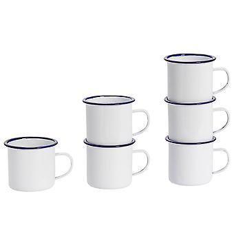 Argon Geschirr Premium weiß Emaille Tee / Kaffeebecher - 380ml - blau Trim - Packung mit 6