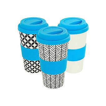Reusable Coffee Cups - Bamboo Fibre Travel Mugs with Silicone Lid, Sleeve - 400ml (14oz) - 3 Patterns - Blue - x6