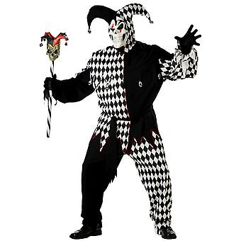 Evil Jester Mardi Gras Black White Halloween Men Costume Plus