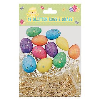 Eurowrap Easter Glitter Eggs & Grass (Pack of 12)