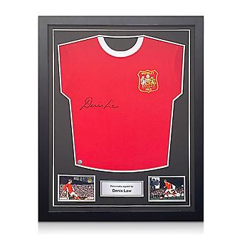 Denis Law signiert Manchester United Fußball-Shirt. Standardrahmen