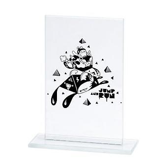Trofeo de vidrio grabado + relleno de pintura