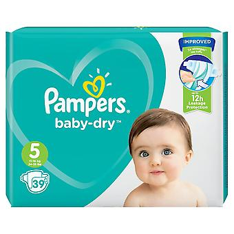 1 x 39 Nappies 5 Baby Pampers 12h Dry Diapers Todler 11-16kg Strong Stretchy