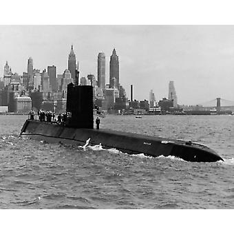 Подводная лодка в море USS Nautilus Nuclear-Powered подводной лодки Нью-Йорк Нью-Йорк государство США Плакат Печать
