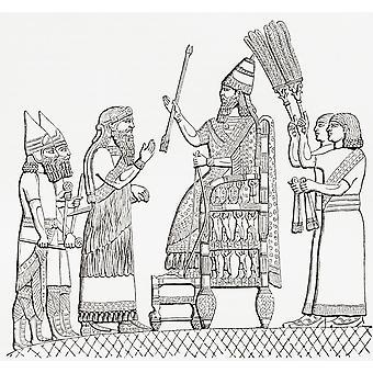 Sennacherib Assyrian kuningas valtaistuimellaan ennen Lindberg city (Lakhisha) päässä Imperial Raamatun sanakirja julkaistu 1889 PosterPrint