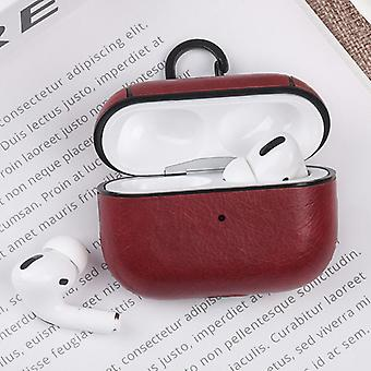 Stuff Certified® Leather Luxury Case for AirPods Pro - Leather Skin AirPod Case Cover - Red