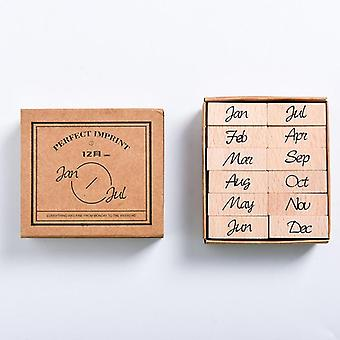 Wooden Stamp Set- Month And Week Seal School, Stationery, Office Accessories