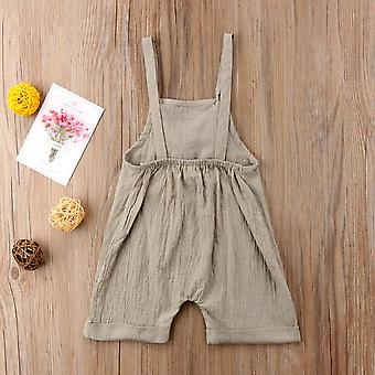 Solid Sleeveless Kids Jumpsuit Overalls For Baby