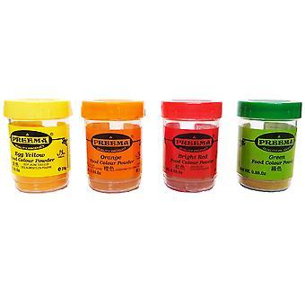 4 x 25g Preema Food Colour Powder Rød Gul Orange Grøn Spiselig Madlavning Bagning