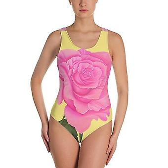Pink And Yellow Rose One-piece Swimsuit
