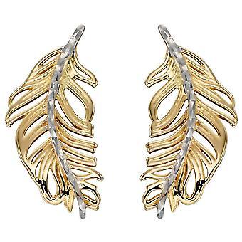 Elementos pendientes de pluma de oro - oro / oro blanco