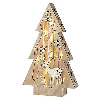 Wooden Led Christmas Tree Decoration
