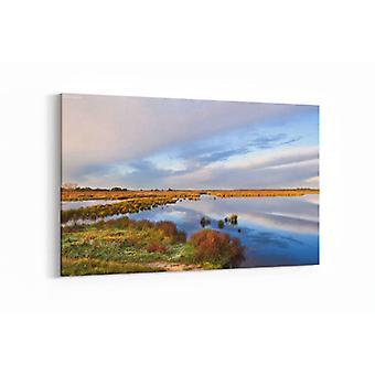 Schilderij - Abstracte wolken over meer bij zonsopgang, Drenthe — 90x60cm