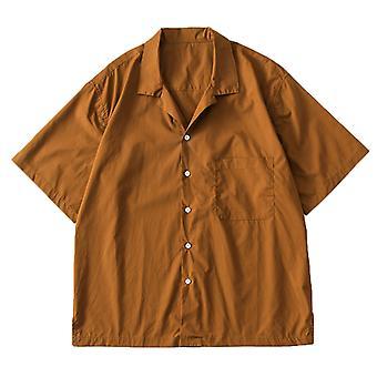 YANGFAN Men's Solid Color Casual Short Sleeve Shirt