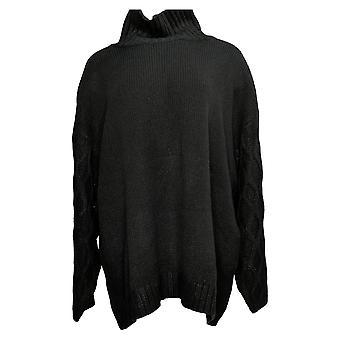 G By Giuliana Women's Sweater Plus Textured-Sleeve Turtleneck Black 727012