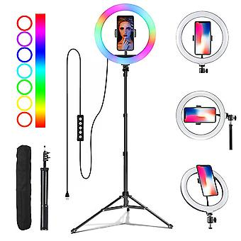 Selfie Flash Dimmable 10 RGB LED Ring Light WithTripod Stand & Phone Holder& Bag
