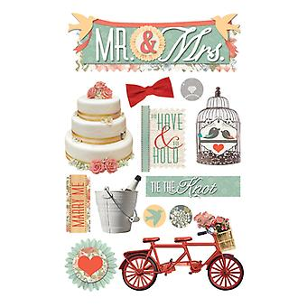 Paper House Productions - 3D Stickers - Mr. and Mrs.