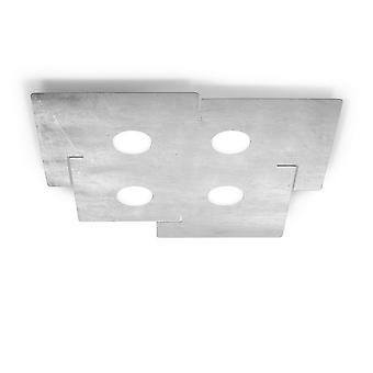 Kolarz SQUARE - Livsstil Metall Overflatemontert Taklampe - Blad Sølv Finish, 4x GX53