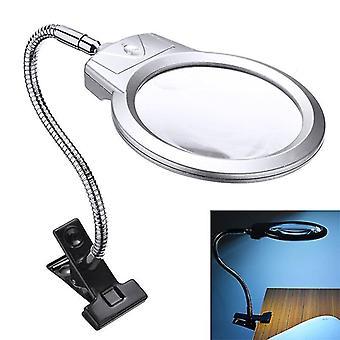 Zväčšovacie sklo svorka veľký objektív viedol osvetlené lampy top stôl šperky lupa lupa a svorka