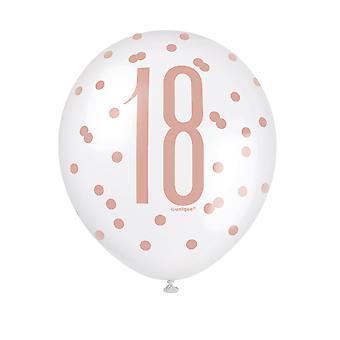 6 Ballons en latex 18 à pois blancs et roses 30 cm