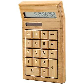 Umweltfreundlicher Taschenrechner aus Bambus, 12-stelliger Standard-Funktion, mit Dual-Akku für den