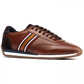 Base London Mayo Mens Leather Casual Trainers Brown