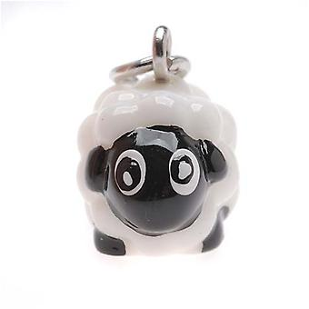Jewelry Charm, 3-D Hand Painted Resin Sheep 15mm, 1 Piece, White