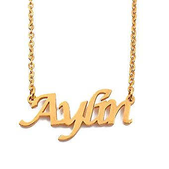 """L Aylin - 18-carat gold-plated necklace, with customizable name, adjustable chain of 16""""- 19"""