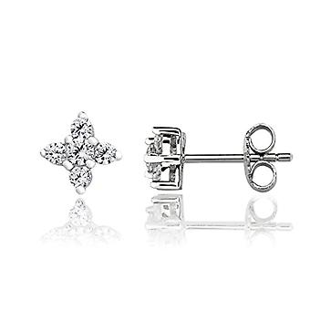 Eye Candy ECJ-ER0008 - Women's earrings, flower, in 925 rhodium silver, with 5 round white zircons of 6.4 mm