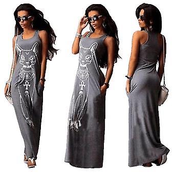 Letní dlouhé šaty květinový potisk plážové šaty Tunic Maxi šaty