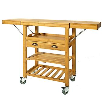 SoBuy bambú cocina almacenamiento, carrito con plegado encimera, FKW25-N
