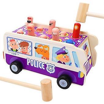 Giocattolo bus animale da banco martellante in legno