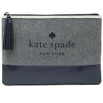 Kate Spade Ash Logo Large Tassel Pouch Navy Blue Canvas WLRU5328