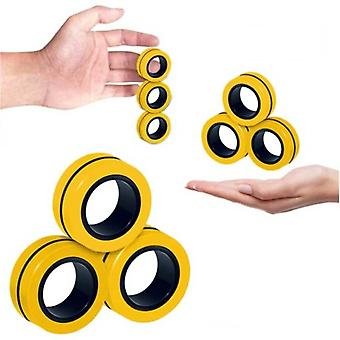 Stuff Certified® 3-Pack Magnetische Ring Fidget Spinner - Anti Stress Hand Spinner Speelgoed Geel