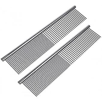 2 Pack Pet Stainless Steel Grooming Dog Cat Comb Tool