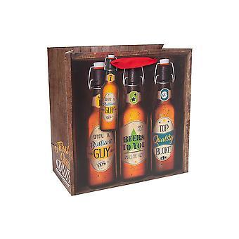ÚLTIMOS POCOS - Bolsa de regalo de papel medio - Brilliant Guy Beer Bottle Print - 25x25x12