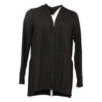 Cuddl Duds Pull Femme Flexwear Cardigan avec Peplum Hem Noir A391565