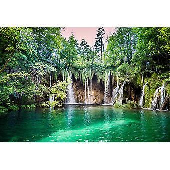 Cachoeiras mural de papel de parede no Lago Plitvice na Croácia