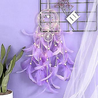 Led Handmade Feather Dreamcatcher - Braided Wind Chimes Art For Room Decoration