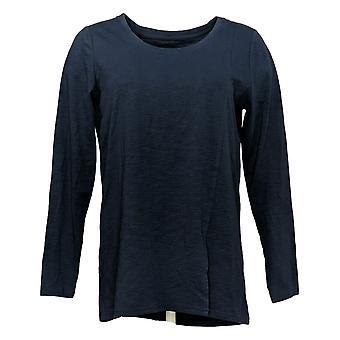 Modern Soul Women's Top Long Sleeves Scoop Neck Blue 681481